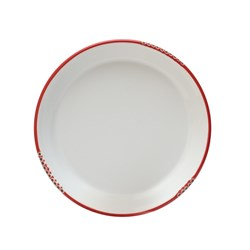 BISTROT PLATE WHT RED RIM 254MM (3/18)