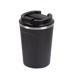 REUSABLE COFFEE CUP 380ML BLK DBL WALL (24)