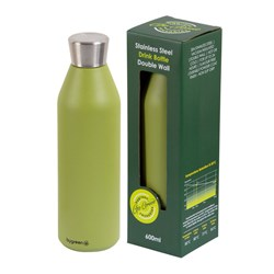 DRINK BOTTLE REUSABLE 600ML OLIVE DBL WALL (24)