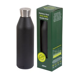 DRINK BOTTLE REUSABLE 600ML BLK DBL WALL (24)