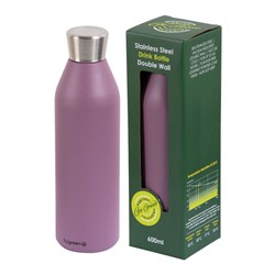 DRINK BOTTLE REUSABLE 600ML BERRY DBL WALL (24)