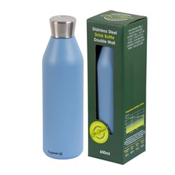 DRINK BOTTLE REUSABLE 600ML BLU DBL WALL (24)