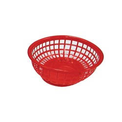 BASKET OVAL PLASTIC RED 240X150X50MM (36)