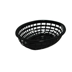BASKET BREAD OVAL PLASTIC BLK 240X150X50MM (36)