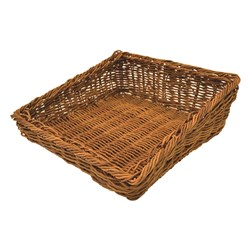 BASKET POLY WILLOW WICKER ANGLED 337X331MM (10)