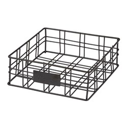 ORWELL SQ BASKET/NAPKIN HOLDER BLK 200X200X70MM (4)