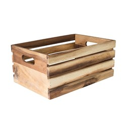 DISPLAY CRATE RUSTIC OILED ACACIA WOOD 340X230X150MM