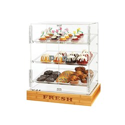 BAKERY CABINET ACRYLIC 2 DOOR BAMBOO BASE