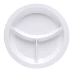 DESIGNER PLATE 230MM 3 CAVITY WHITE (12) ALADDIN