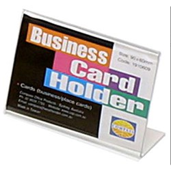 BUFFET CARD HOLDER CLR ACRYLIC SLANTED 90X60MM