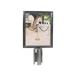 SIGN FRAME A4 S/S SUIT SECURIT RETRACTABLE BARRIER POST (5)