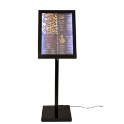 LED INFORMATION DISPLAY SET BLK W/WHT LED LIGHT 4XA4 PAGES