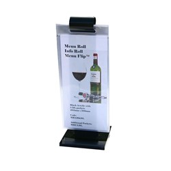 MENU STAND INFO ROLL DL BLK ACRYLIC W/- 5 POCKETS