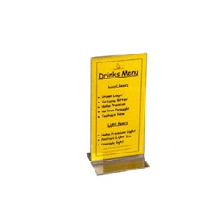 MENU STAND DL 100X210MM DBL SIDED CLR  ACRYLIC