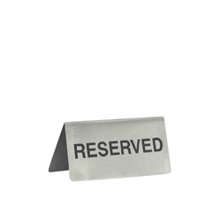 SIGN RESERVED S/S BLK ON SILVER 100X43MM A FRAME (12)