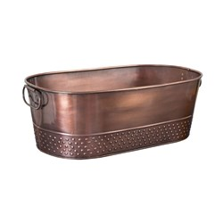BEVERAGE TUB OVAL ANTIQUE COPPER 525X290X175MM (6)