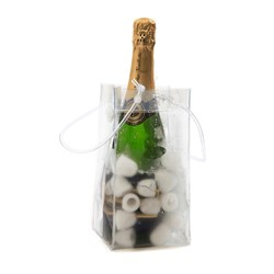 CHAMPAGNE ICE BAG COOLER CLR 110X110X255MM 6/PKT (20)