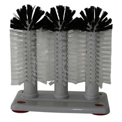GLASS WASHER TRIPLE BRUSH W/- SUCTION CUPS