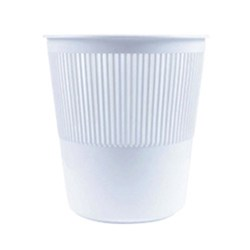 BIN TIDY PLASTIC WASTE 260MM ROUND RIBBED WHITE (48)