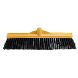BROOM HEAD 450MM MED STIFF POLY FILL YELLOW P/BACK