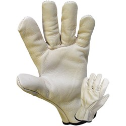 GLOVE RIGGERS COWHIDE LEATHER ELASTIC WRIST LGE