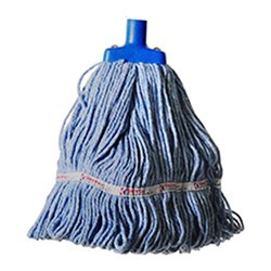 MOP HEAD 350GM HOSPITAL FLAT FERRULE BLUE COTTON
