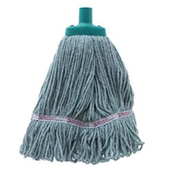 MOP HEAD 350GM HOSPITAL FLAT FERRULE GREEN COTTON