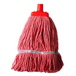 MOP HEAD 350GM HOSPITAL FLAT FERRULE RED COTTON