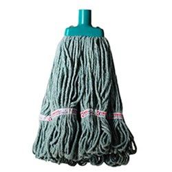 MOP HEAD 350GM HOSPITAL RND FERRULE GREEN COTTON