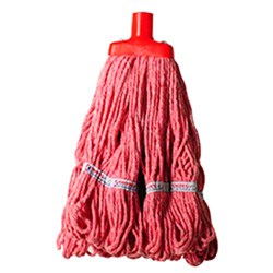 MOP HEAD 350GM HOSPITAL RND FERRULE RED COTTON