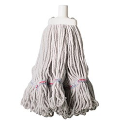 MOP HEAD 350GM HOSPITAL RND FERRULE WHITE COTTON