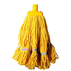 MOP HEAD 350GM HOSPITAL RND FERRULE YELLOW COTTON