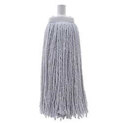 MOP HEAD 400GM W/- PLASTIC FERRULE WHITE COTTON