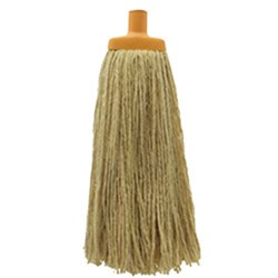 MOP HEAD 400GM W/- PLASTIC FERRULE YELLOW COTTON