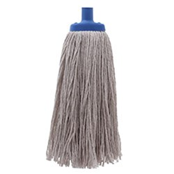 MOP HEAD 350GM W/PLASTIC FERRULE POLY COTTON