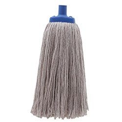 MOP HEAD 450GM W/PLASTIC FERRULE POLY COTTON