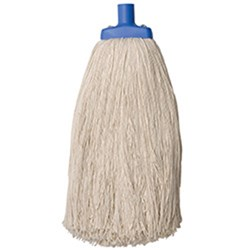 MOP HEAD 600GM W/PLASTIC FERRULE POLY COTTON
