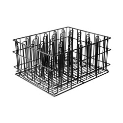GLASS BASKET 30 COMP 60X60MM 430X355X215MM BLK PVC COATED