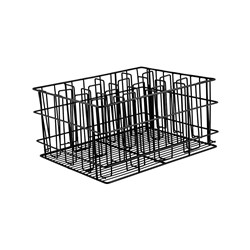 GLASS BASKET 16 COMP 105X75MM 430X355X215MM BLK PVC COATED