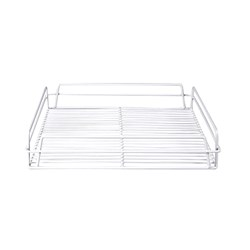 GLASS BASKET 435X355X75MM WHITE PVC COATED (10)
