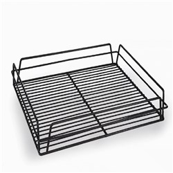 GLASS BASKET 435X355X75MM BLK PVC COATED (10)