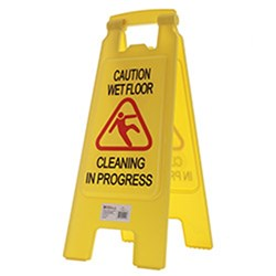 A FRAME SIGN WET FLOOR & CLEANING IN PROGRESS YELLOW