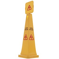 SAFETY CONE 1165MM CAUTION WET FLOOR YELLOW PLASTIC