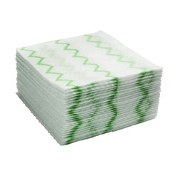 MICROFIBRE CLOTH DISPOSABLE WHT/GRN 640/CTN