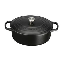 SIGNATURE OVAL CASSEROLE 270MM S/S KNOB SATIN BLK CAST IRON