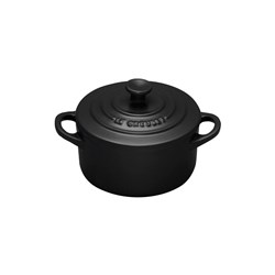 MINI RND CASSEROLE 90MM SATIN BLK STONEWARE (12)