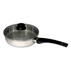 FRYPAN 240MM S/S W/- GLASS LID (6) CONNOISSEUR