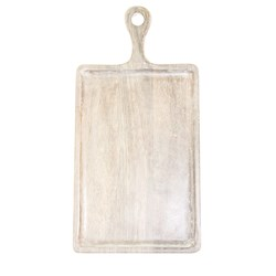 MANGOWOOD SERVING BOARD RECT W/- HDL 400X200X15MM WHT (6)