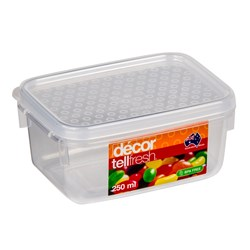 TELLFRESH OBLONG CONTAINER 250ML 110X81X52MM PLASTIC (12)