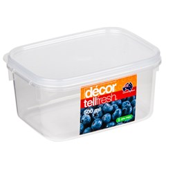 TELLFRESH OBLONG CONTAINER 500ML 135X100X68MM PLASTIC(12)